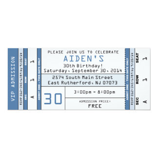 Concert Ticket Invitation Blue  Concert Ticket Birthday Invitations