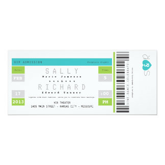 Concert Ticket Invitation in Aqua and Lime