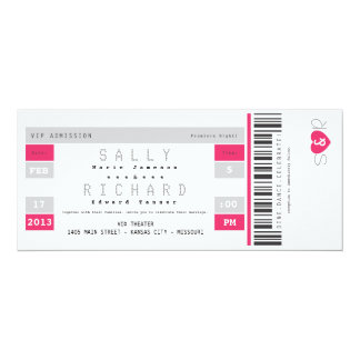 Concert Ticket Invitation in Hot Pink