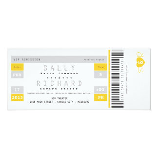 Concert Ticket Invitation in Sunshine Yellow