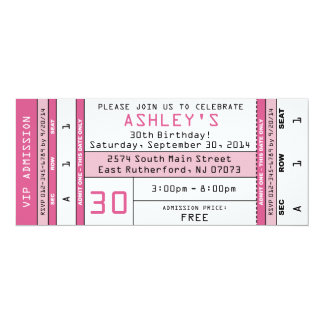 Concert Ticket Invitation Pink  Concert Ticket Birthday Invitations