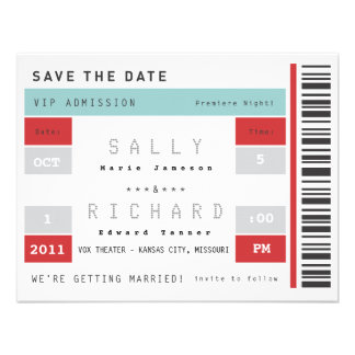 Concert Ticket Save the Date Personalized Invite