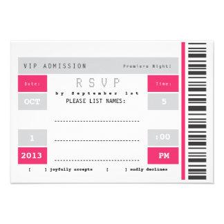 Concert Ticket Stub RSVP Custom Invitation