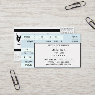 Ticket business cards zazzle concert ticket colourmoves