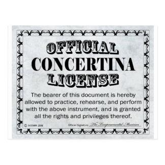 Concertina License Postcard