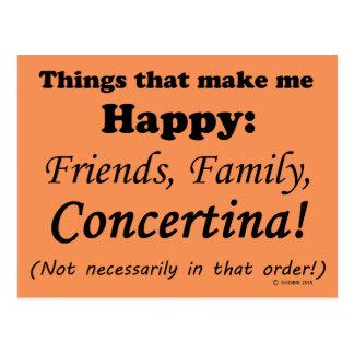 Concertina Makes Me Happy Postcard