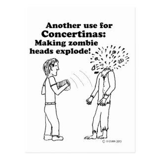 Concertina Makes Zombies Explode Postcard