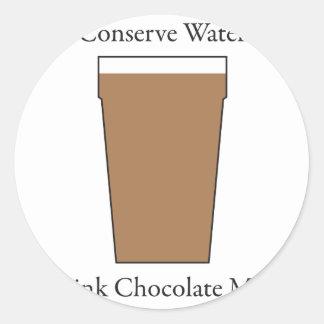 Concerve Water Drink Chocolate Milk Classic Round Sticker