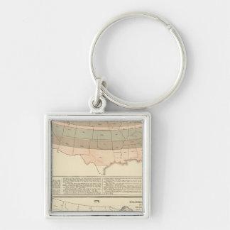 Concesiones originales de 1776 áreas establecidas llavero cuadrado plateado