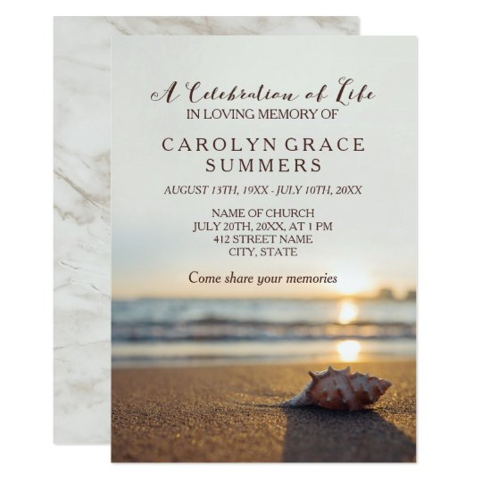 Conch On Beach Celebration Of Life Card Zazzlecom - Celebration of life template