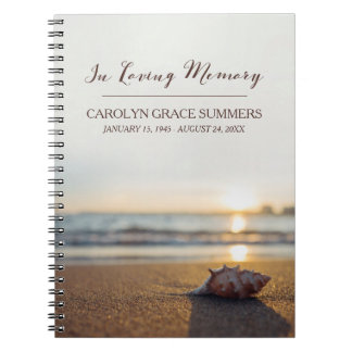 Conch on Beach In Loving Memory Guestbook Notebook