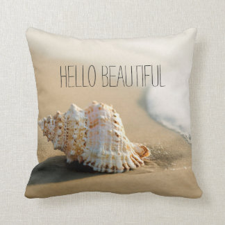 Conch Sea Shell Beach Sand Surf Personalized Throw Pillow