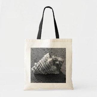 Conch Sea Shell Black and White Beach Tote Bag