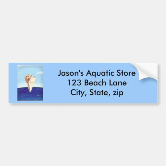 Conch Sea Shell Ocean painting, bumper stickers