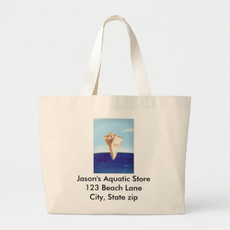 Conch sea shell ocean painting, canvas bags