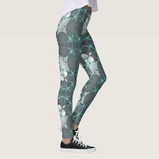 Conch Shell and Starfish Teal Geometric Leggings