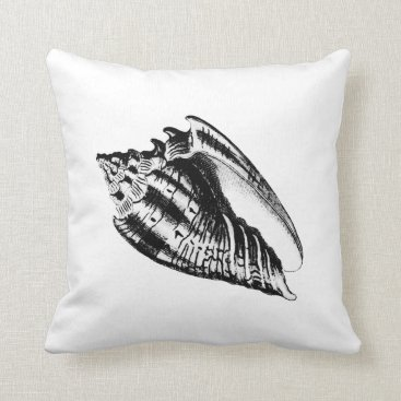 Beach Themed Conch Shell - black and white Throw Pillow