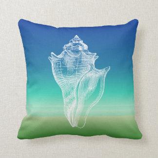 Conch Shell Blue Green Seascape Pillow