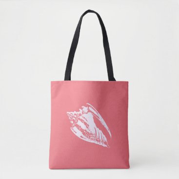 Beach Themed Conch Shell - coral pink and white Tote Bag