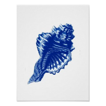 Beach Themed Conch Shell, Indigo Blue and White Poster