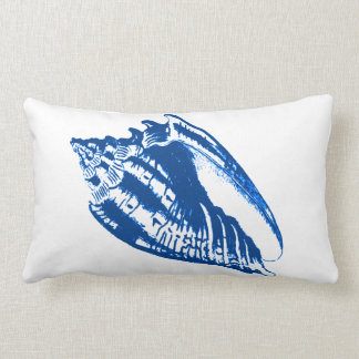 Conch Shell - navy blue and white Pillow
