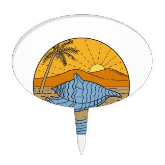 Conch Shell on Beach Mountain Sun Coconut Tree Mon Cake Topper
