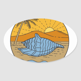 Conch Shell on Beach Mountain Sun Coconut Tree Mon Oval Sticker