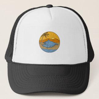 Conch Shell on Beach Mountain Sun Coconut Tree Mon Trucker Hat