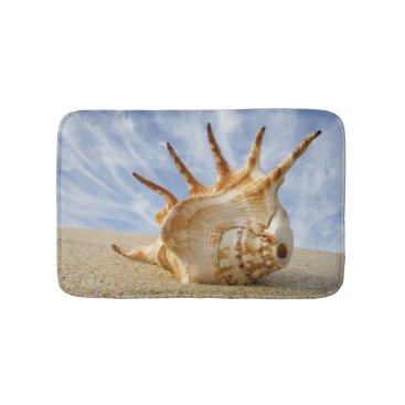 Beach Themed Conch Shell on Sandy Beach, Blue Sky Bathroom Mat