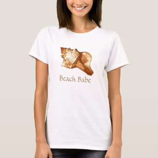Conch shell sketch - brown, white and tan T-Shirt