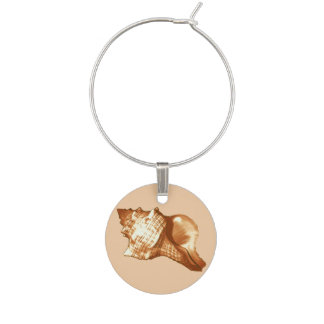 Conch shell sketch - brown, white and tan wine charm