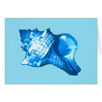 Conch shell sketch - cobalt and sky blue card