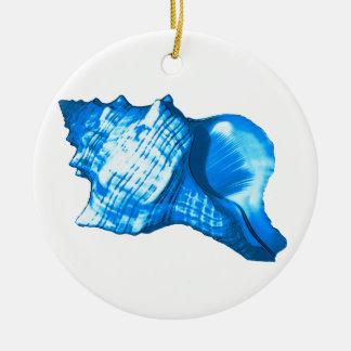 Conch shell sketch - cobalt and sky blue ceramic ornament