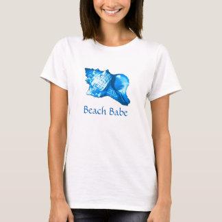 Conch shell sketch - cobalt and sky blue T-Shirt