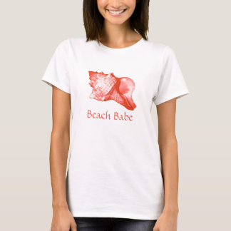 Conch shell sketch - coral, shell pink and white T-Shirt