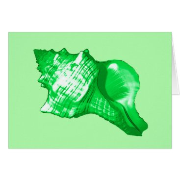 Beach Themed Conch shell sketch - emerald and lime green card