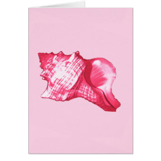 Conch shell sketch - fuchsia pink and white card