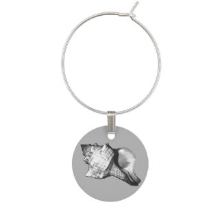 Conch shell sketch - shades of grey and white wine glass charm