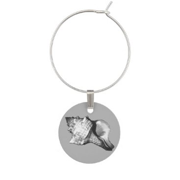 Beach Themed Conch shell sketch - shades of grey and white wine glass charm