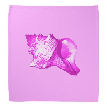 Beach Themed Conch shell sketch - shades of orchid and white bandana