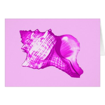 Beach Themed Conch shell sketch - shades of orchid and white card