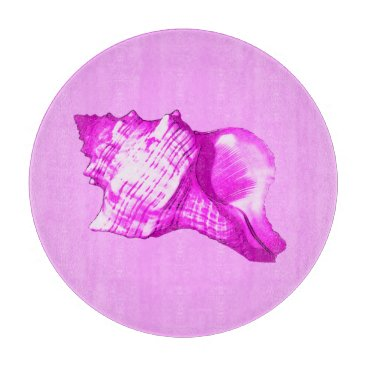 Beach Themed Conch shell sketch - shades of orchid and white cutting board