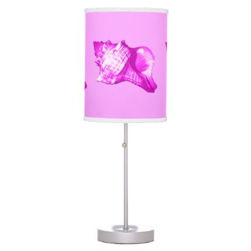 Beach Themed Conch shell sketch - shades of orchid and white desk lamp