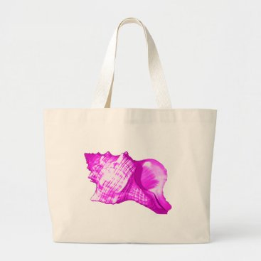 Beach Themed Conch shell sketch - shades of orchid and white large tote bag