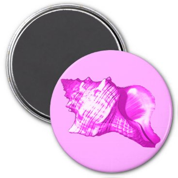 Beach Themed Conch shell sketch - shades of orchid and white magnet