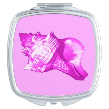 Beach Themed Conch shell sketch - shades of orchid and white makeup mirror