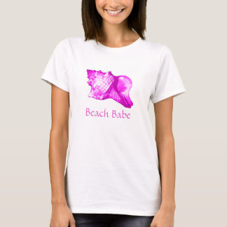 Conch shell sketch - shades of orchid and white T-Shirt