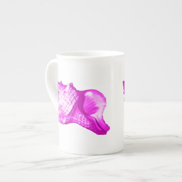 Beach Themed Conch shell sketch - shades of orchid and white tea cup