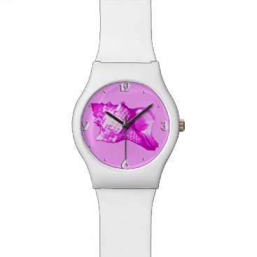 Beach Themed Conch shell sketch - shades of orchid and white watch