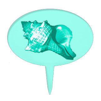 Conch shell sketch - turquoise, white and aqua cake topper